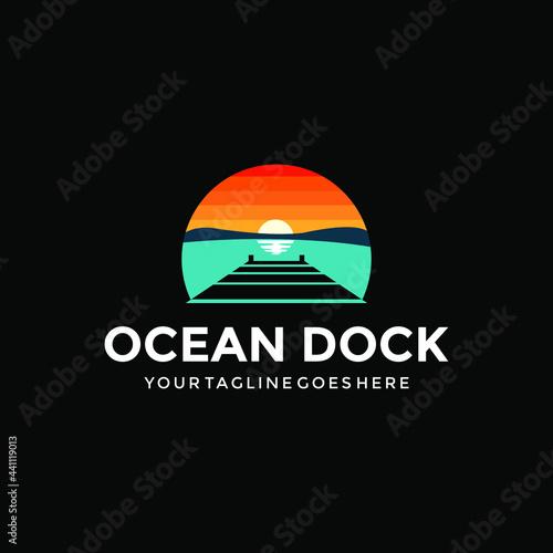 Canvas ocean dock logo design creative idea inspiration