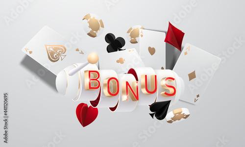 Fotografia Online casino bonus, slot machine, casino chips flying realistic tokens for gamb