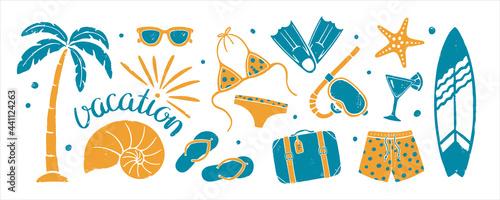 Stampa su Tela Set of textured summer holidays prints