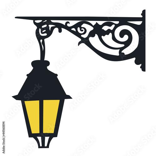 Fototapeta decorative, street, wall lamp isolated