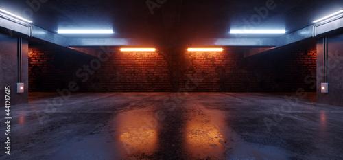 Tela Neon Lights Grunge Sci Fi Underground Garage Car Room Cement Asphalt Concrete Br