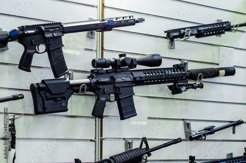Fotografie, Obraz Gun wall rack with rifles