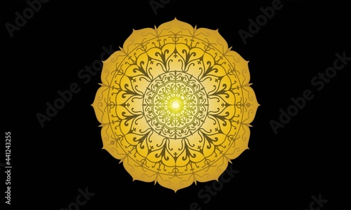 Photo Sacred Geometry esoteric Flower of Life, gold filigree mandala embroidery jewelry concept