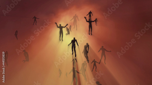 Fotografia People floating, rising into space , heavens