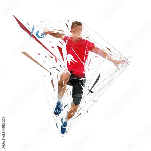 Fototapeta Handball player throwing ball, low polygonal vector illustration