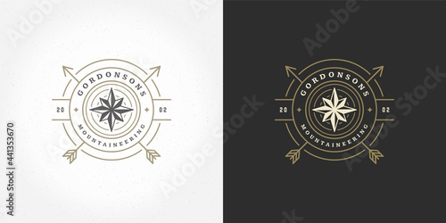 Photographie Wind rose logo emblem vector illustration outdoor expedition adventure compass s