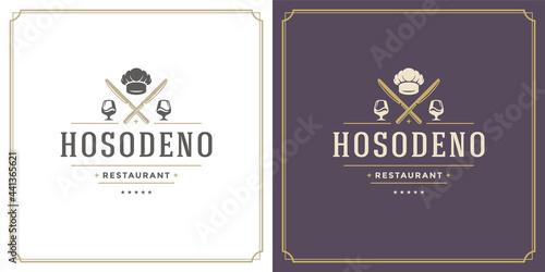 Leinwand Poster Restaurant logo design vector illustration wine glass stemware silhouette