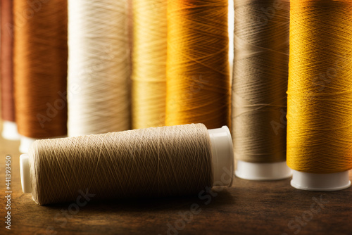 Fototapeta brown, beige, tan colored sewing thread spools on a old work table