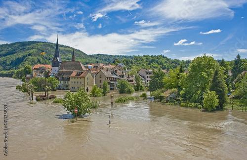 Obraz na płótnie flood due to heavy rainfall at Neckargemund at the Neckar river in southern Germ
