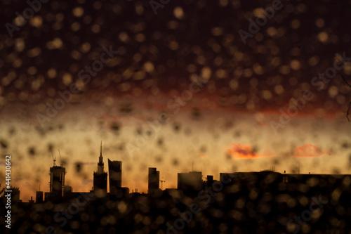 Fotografia, Obraz Widok na centrum Warszawy po deszczu i burzy