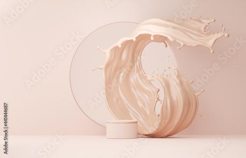 Canvastavla 3D beige pedestal podium with liquid foundation splash swirl on studio background