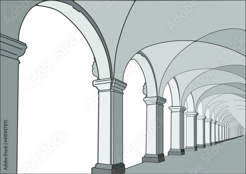 Foto Baroque colonnade with columns and arcs, realistic vector picture
