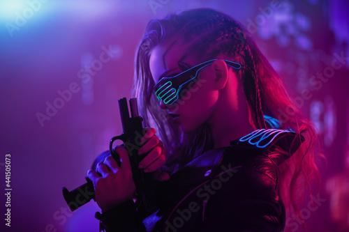 Fototapeta girl cyberpunk warrior