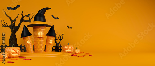 Canvas-taulu Witch castle, bats, grinning pumpkins and dried tree on yellow background, hallo