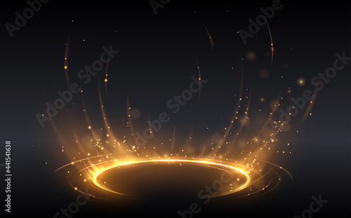 Abstract golden light circle effect