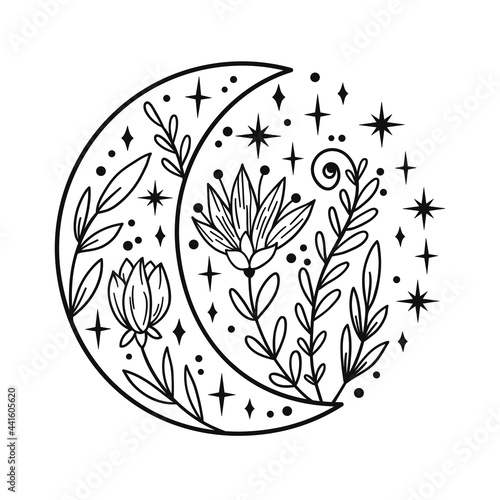 Hand drawn crescent moon with flowers and floal elements. Fotobehang