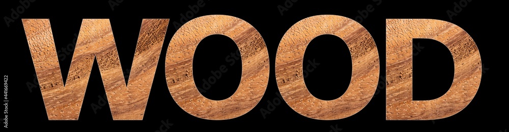 The word wood on rustic wooden background