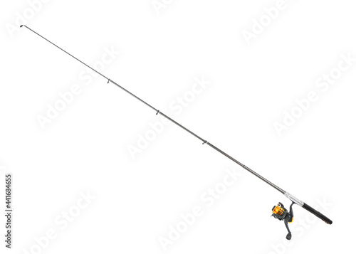Canvastavla Spinning rod for fishing isolated on white, clipping path included for design
