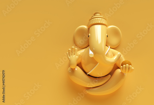 Canvas Print Hindu God Ganesha Statue- Hindu Religion Festival Concept Elephant