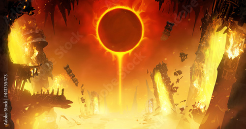 Canvas Print An eclipse of the yellow sun in a hot sky in the middle of the crazy ruins of hell, where fragments of Gothic-style buildings and magical portals to other worlds are scattered