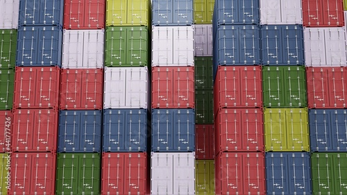 Fotografering Stack of Cargo Containers at the docks