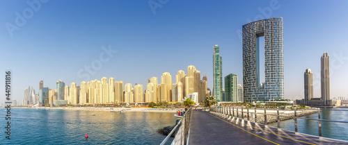 Dubai Jumeirah Beach JBR Marina skyline architecture buildings travel vacation panorama in United Arab Emirates