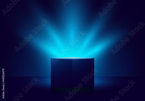 Fotografia 3D blue mystery box with Illuminated lighting glitter on dark background