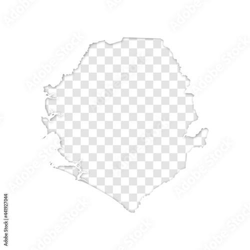 transparent silhouette of Sierre Leone map with shadow Fototapeta