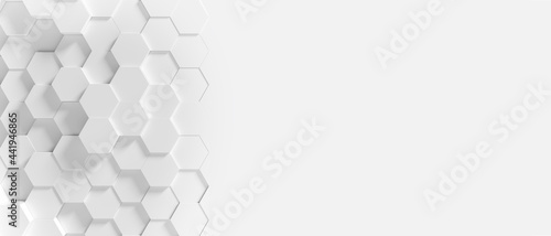 Fotografie, Tablou Panoramic Wall of Random shifted white honeycomb hexagon background wallpaper with copy space