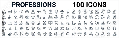 outline set of professions line icons. linear vector icons such as computer systems analyst,concierge,financial manager,obstetrician and gynecologist,superhero,fisherman,swat,statistician. vector