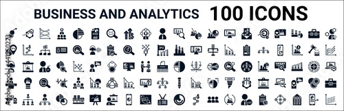 Fotografia set of 100 glyph business and analytics web icons