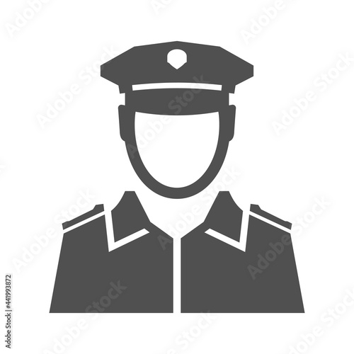 Canvas Monochrome simple police officer icon vector flat illustration
