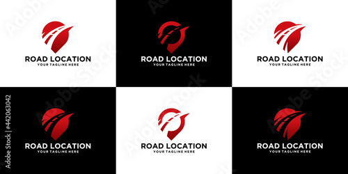 collection of location logo with road and travel logistics template design Fototapeta