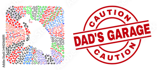 Photo Vector mosaic Barbuda Island map of different symbols and Caution Dad'S Garage seal stamp
