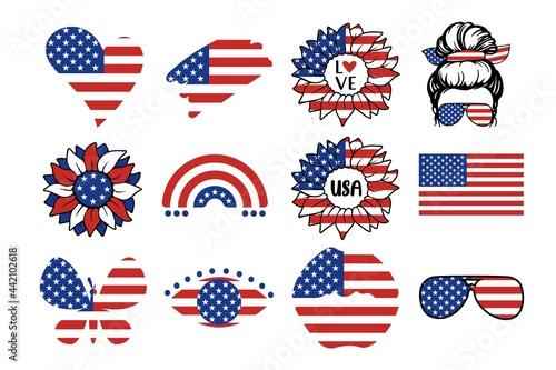 Obraz na plátne USA independence day symbols set with flag, rainbow, hearts, lips, eyes, sunflower, quotes, woman isolated on white background