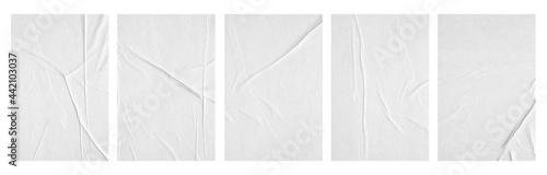 Fotografie, Obraz white paper wrinkled poster template ,blank glued creased paper sheet mockup