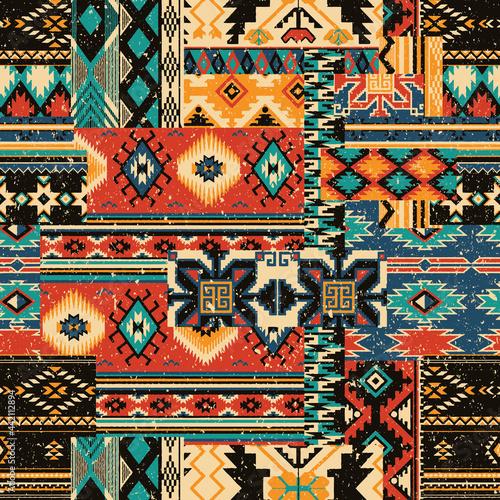 Obraz na plátně Native American traditional fabric patchwork grunge vector seamless patterns