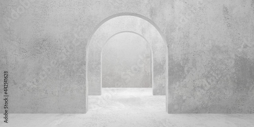 Leinwand Poster Abstract empty, modern concrete room with multiple archways in the middle and ro