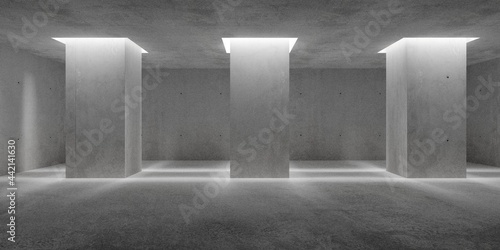Fotografie, Obraz Abstract empty, modern concrete walls room with indirect lit pillars and rough f