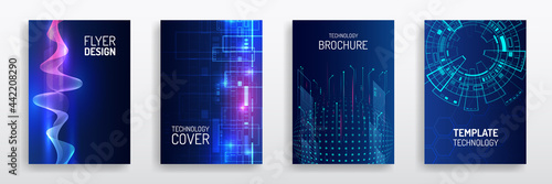 Blue layout futuristic brochures, flyers, placards. Contemporary science and digital technology concept. Vector template for brochure or cover with hi-tech elements background.