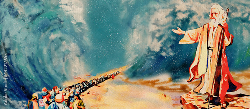 Fotografie, Obraz Biblical stories. Crossing the Red Sea with Moses. Watercolor.