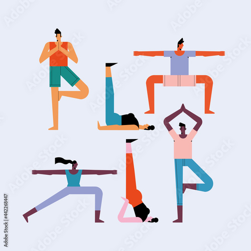 six persons practicing yoga