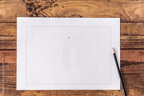 Fototapeta 原稿用紙と鉛筆