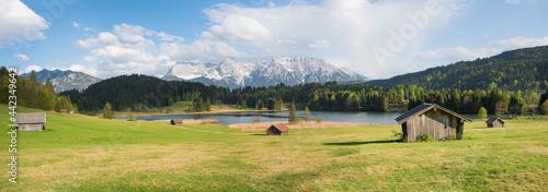 Fotografie, Tablou alpine meadow with wooden huts, view to Karwendel mountains, panorama bavaria