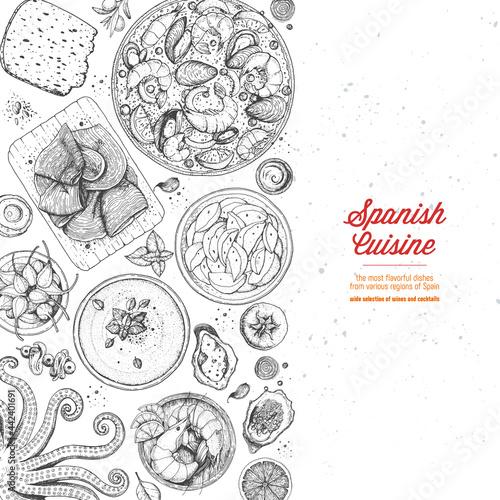 Fotografiet Spanish cuisine top view frame