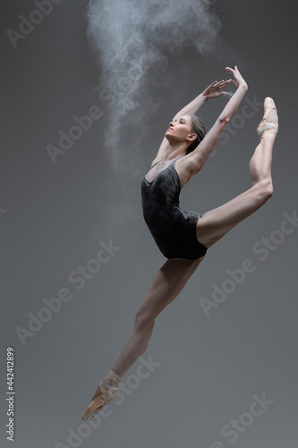 Canvastavla Skilled ballerina dancing leaping against gray background