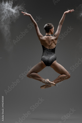 Tablou Canvas Backview shot of jumping ballerina with outstretched arms