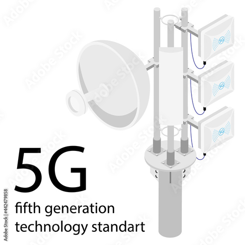 Canvas Print 4G and 5G cellular telecommunication tower.