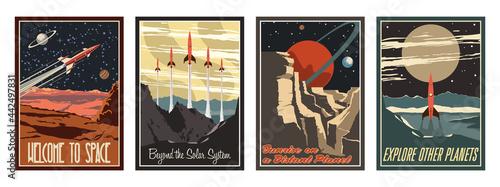 Photo Retro Futurism Style American Astronautics Propaganda Posters Stylization, Mid C