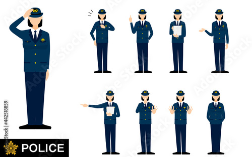 Fotografía 若い女性警官のポーズセット9点、敬礼や制止、取り締まりなど